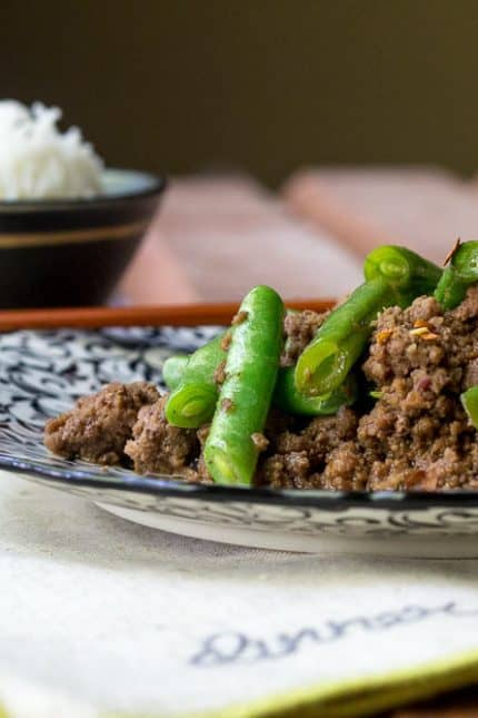 Ground Beef Stir Fry with Green Beans