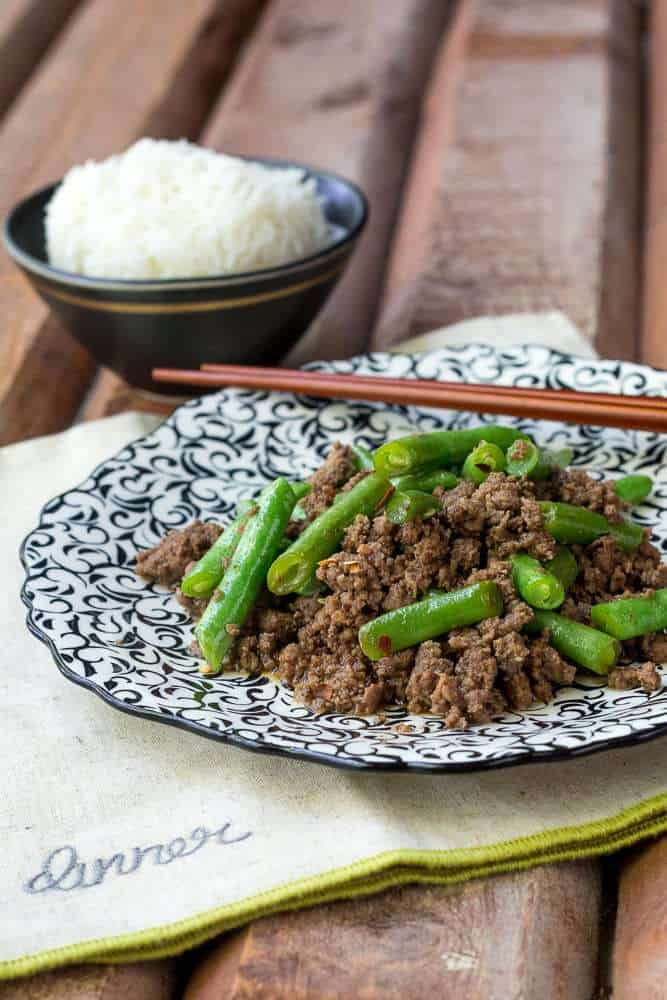 Beef and green bean stir fry is ready for the dinner table in just minutes, and your family will love it!
