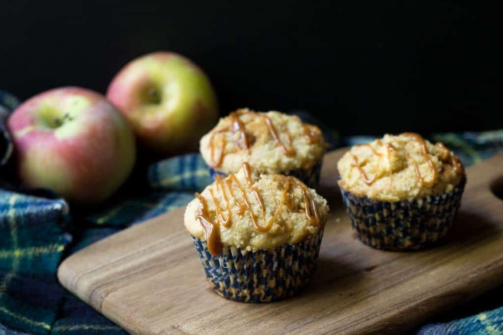 Caramel apple muffins are bursting with apple chunks and sweet caramel bits.
