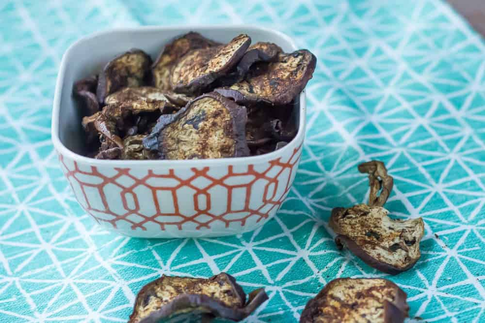 Eggplant Chips are baked into a surprising and satisfying snack.