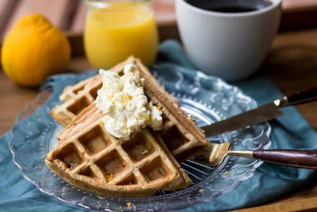 Orange Spice Waffles are perfect for a cozy winter brunch.