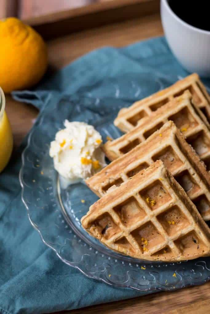 Orange spice waffles are full of warm spices and citrus flavor.