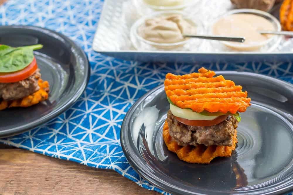 Party sliders with waffle fry buns make mini burgers even more fun.