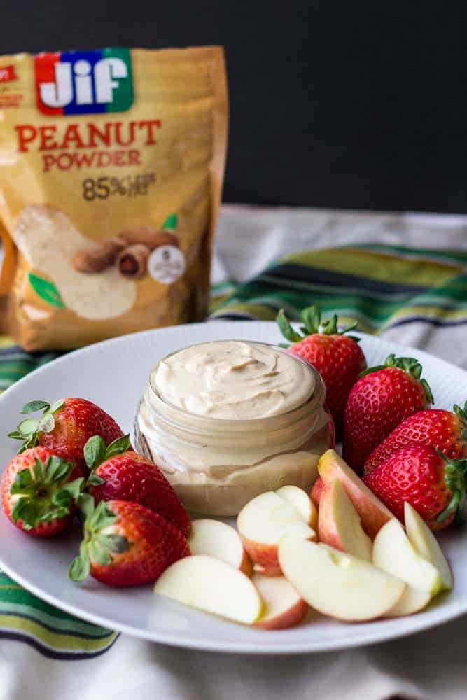 Peanut butter fruit dip requires just three ingredients.