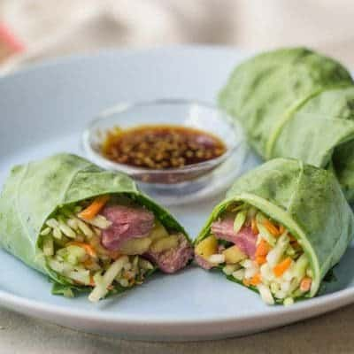 Steak and Mango Collard Wraps
