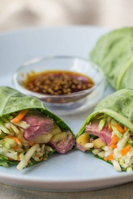 Steak and Mango Collard Wraps