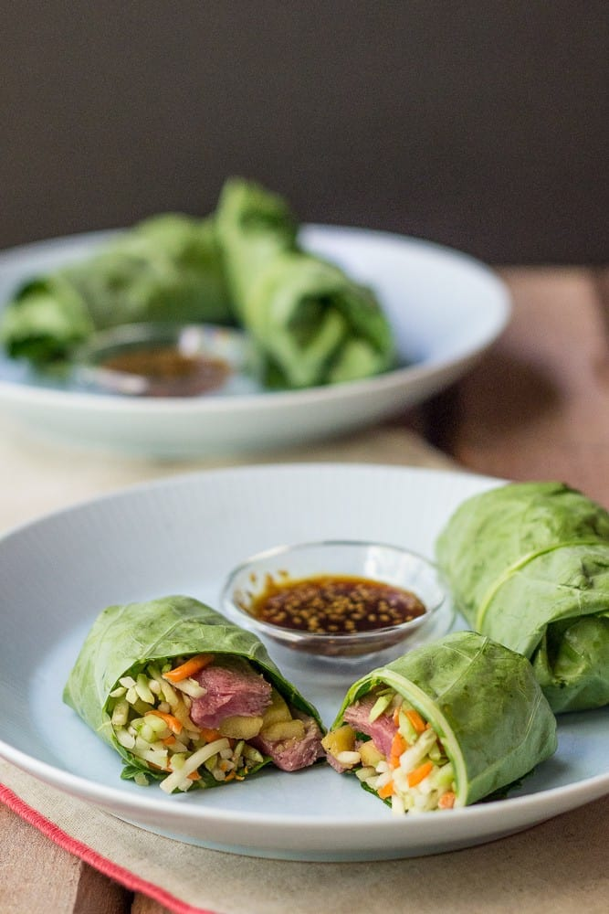 Steak and mango collard wraps are a simple lunch that's full of fresh ingredients.