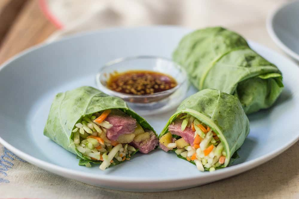 Steak and Mango Collard Wraps Steak and mango collard wraps are filled with fresh flavors.