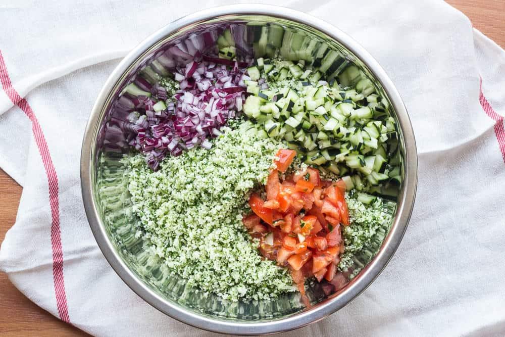 Cauliflower Tabouli is a fresh vegan side dish.