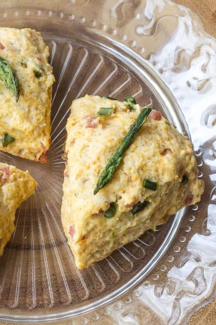 Ham Asparagus scones are a great savory addition to the brunch table.