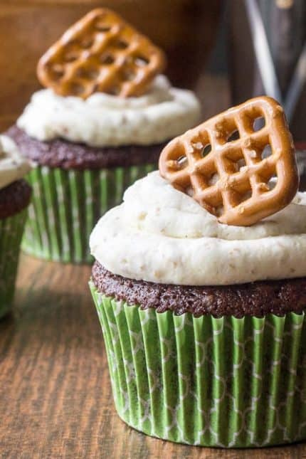 Beer and Pretzel Cupcakes