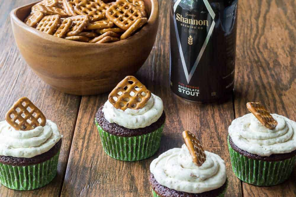 Beer and pretzel cupcakes are sweet and salty chocolate desserts that go great with your favorite pint.