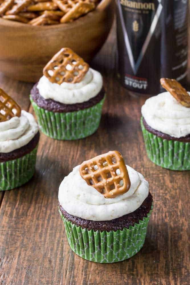 Beer and pretzel cupcakes are sweet, salty, and go great with your favorite pint.