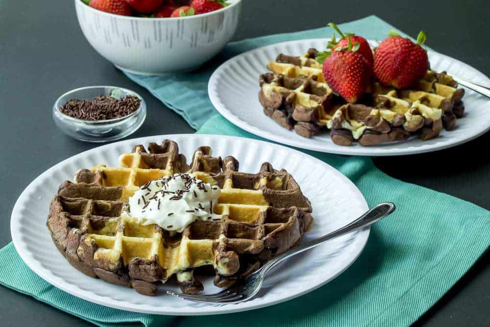 Marble Waffles are swirled with chocolate and vanilla.