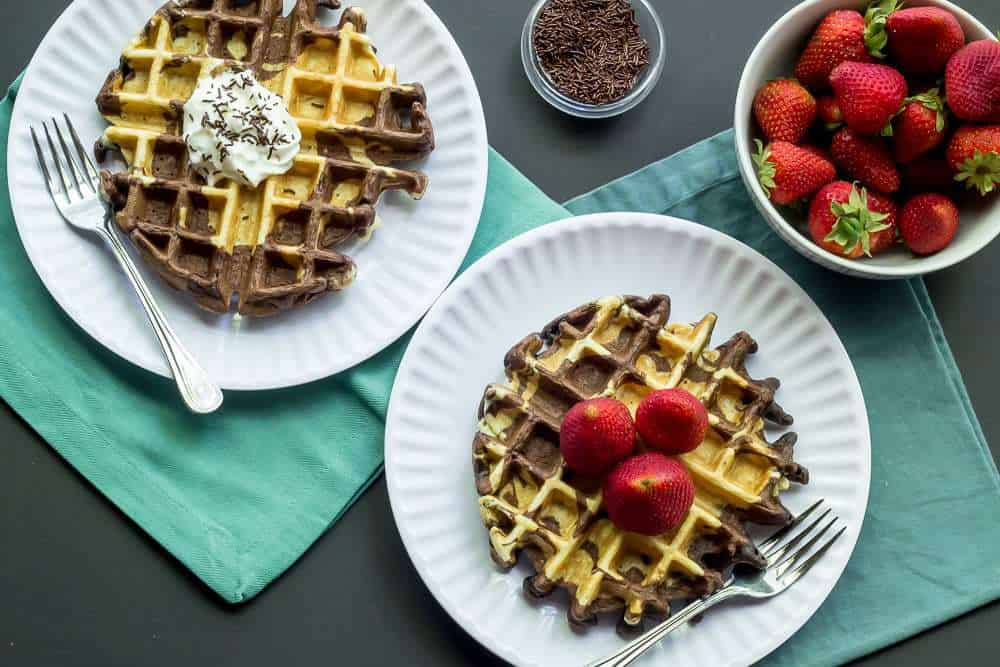 Marble Waffles are a beautiful option for your Sunday morning table.