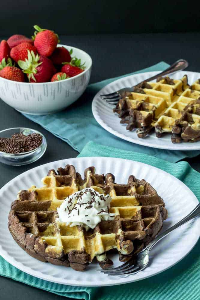 Marble waffles take care of requests for both chocolate and vanilla.