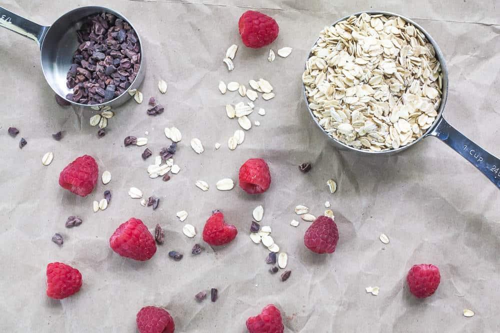 Raspberry Almond Baked Oatmeal - Raspberries and Cacao Nibs