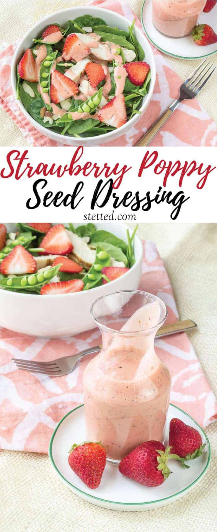 Creamy strawberry poppy seed dressing is a sweet, tangy way to top your salads during berry season.