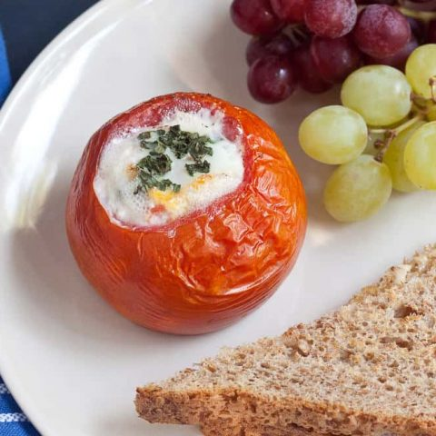 Baked eggs in tomatoes are an easy yet elegant way to serve up eggs for breakfast or brunch.