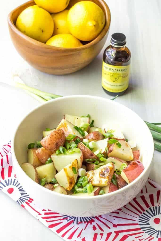 Lemony grilled potato salad is a light, bright twist on summer potato salads.