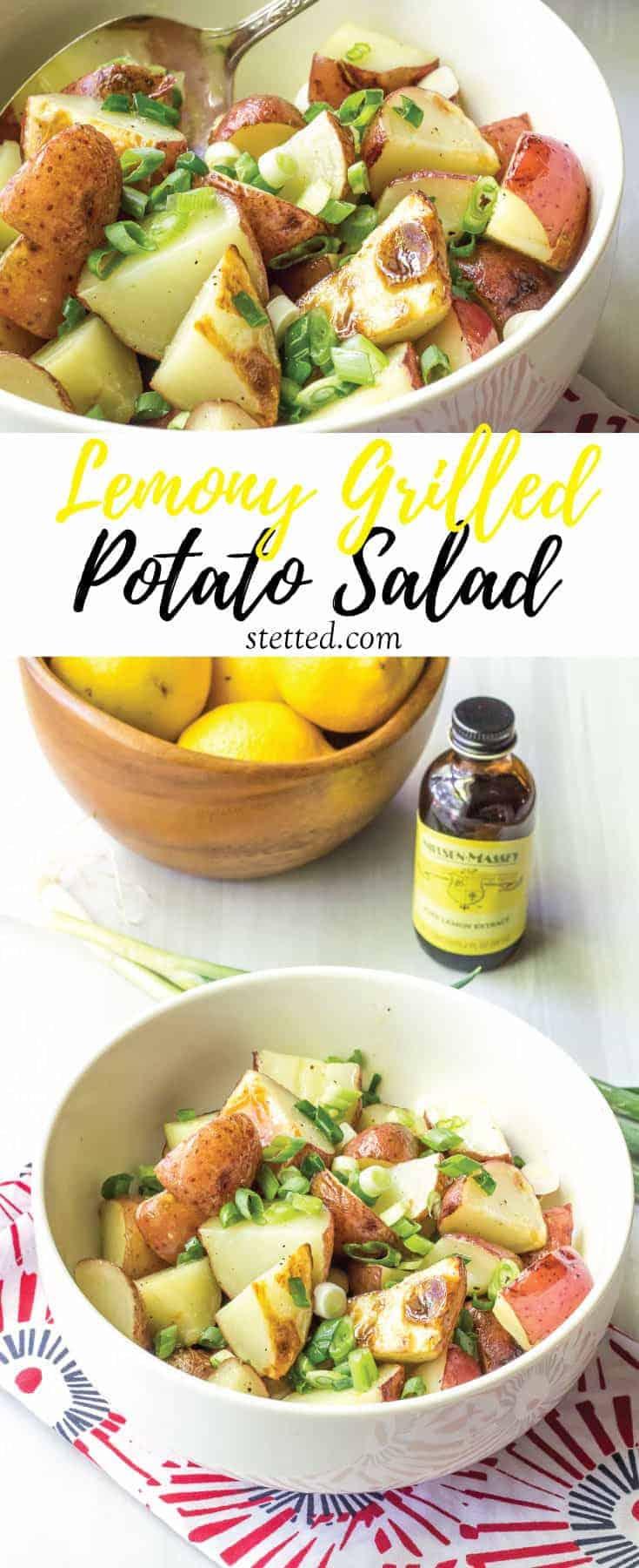 Lemony grilled potato salad is a light, bright twist on summer potato salads.