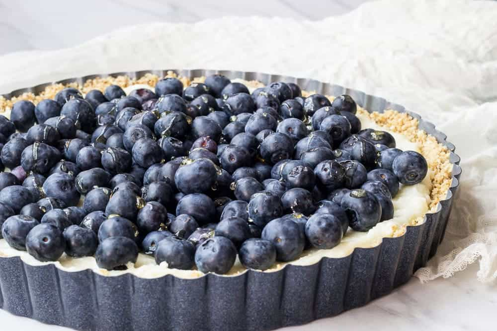 Blueberry white chocolate tart is a delicious no-bake dessert. Summer at its best!