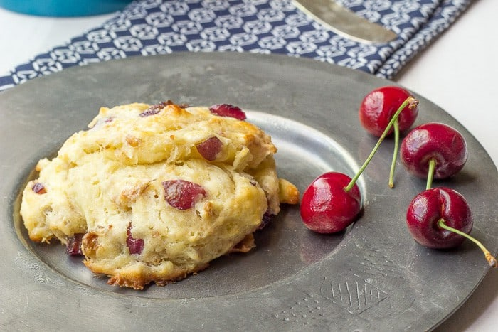 Cherry Walnut Scones come together easily. Grate the butter for perfect texture.