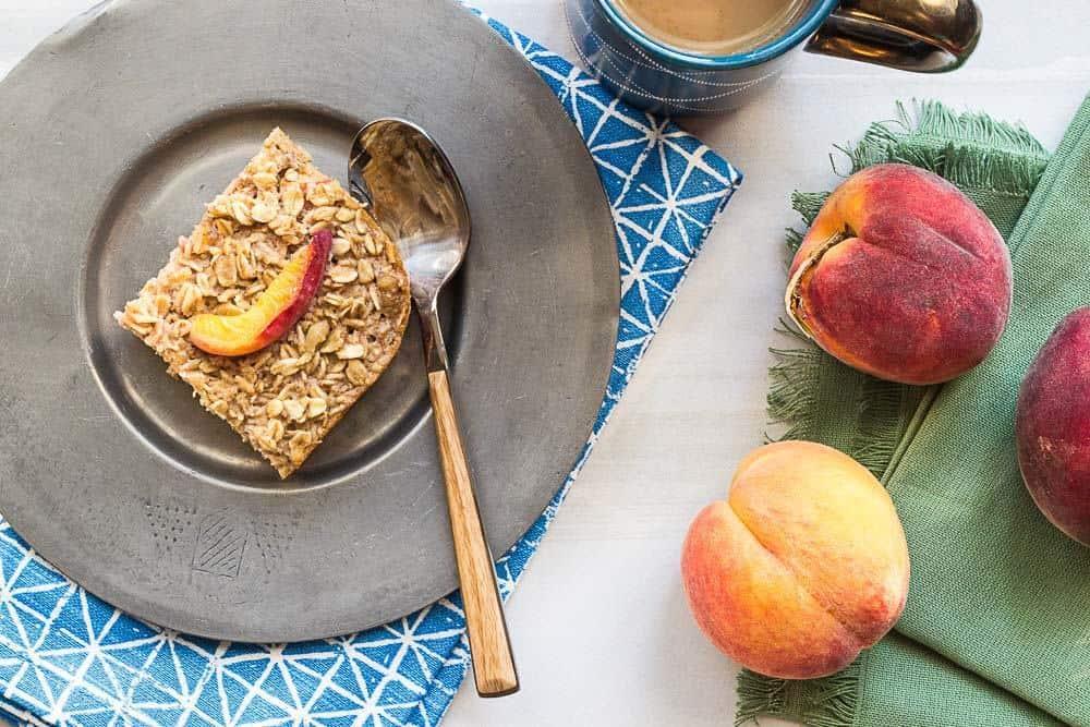 Baked peach oatmeal is a sweet make-ahead breakfast.