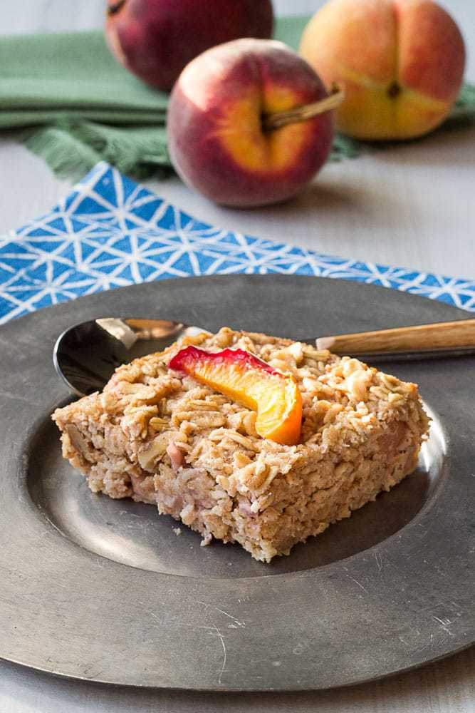 Baked peach oatmeal is a great make-ahead breakfast for any morning. It's filled with juicy, sweet peaches for the taste of summer.