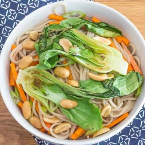 Peanut soba noodles with bok choy are a light lunch or dinner. You can add cooked chicken or tofu if you like.