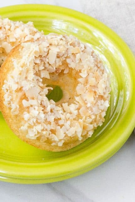 Toasted coconut donuts are a fun breakfast treat.