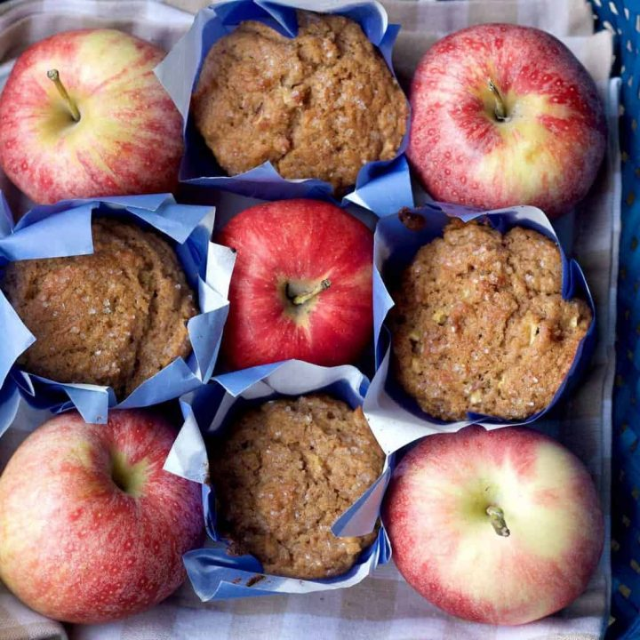 Whole wheat apple cinnamon muffins are bursting with flavor. The whole family will love them.
