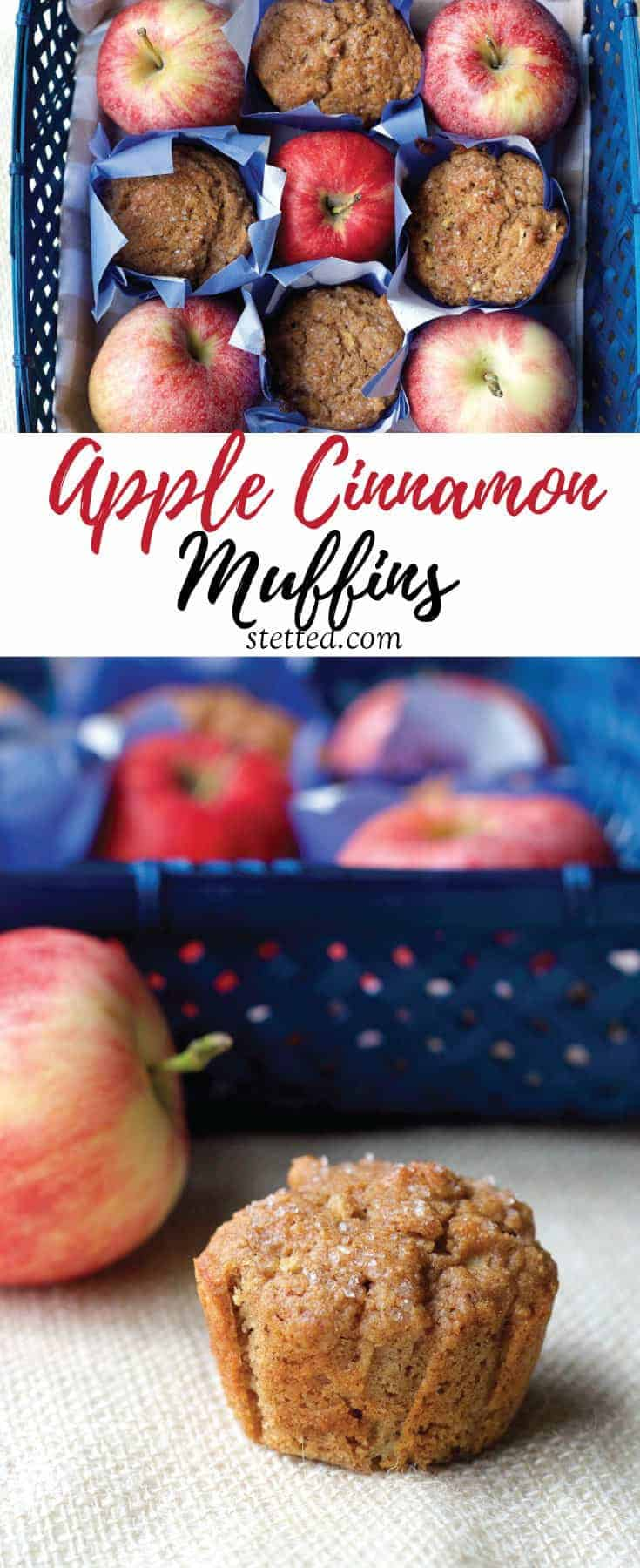 Whole wheat apple cinnamon muffins are a great start to your day, lunch box filler, or afternoon snack.
