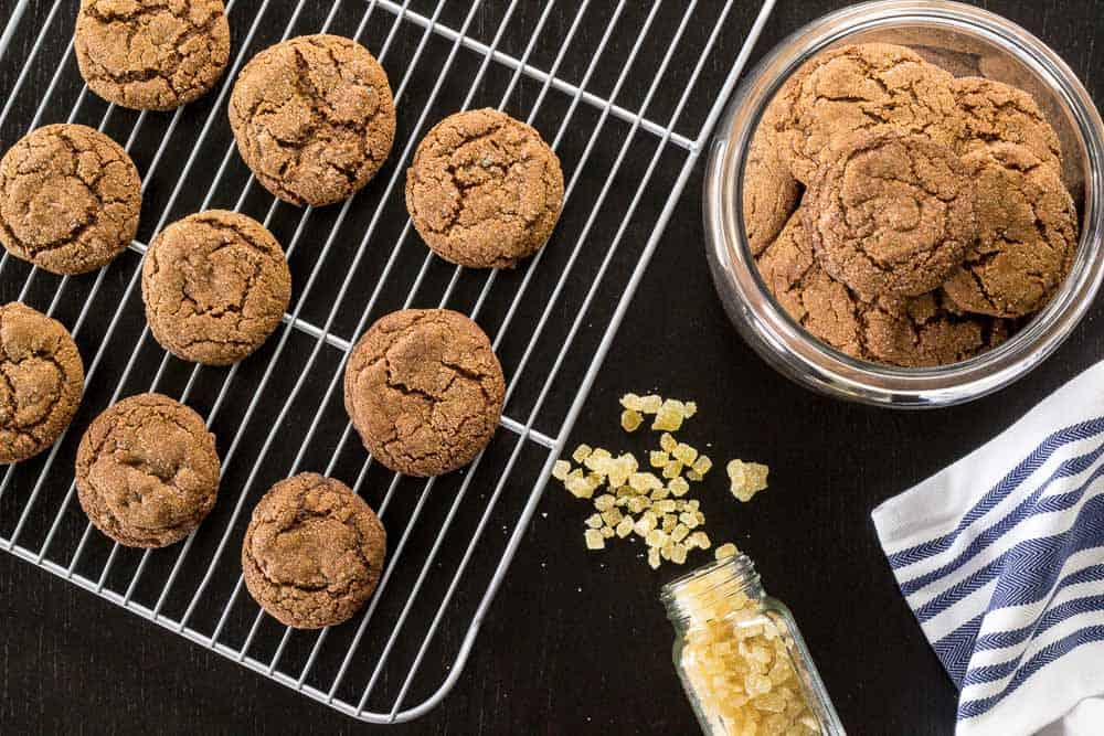 Double ginger molasses cookies get a hit of flavor from crystallized ginger.