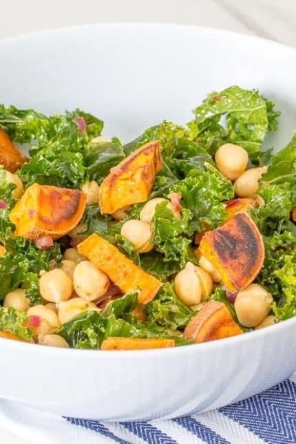 Roasted sweet potato salad comes together in less than 30 minutes for a quick meal.