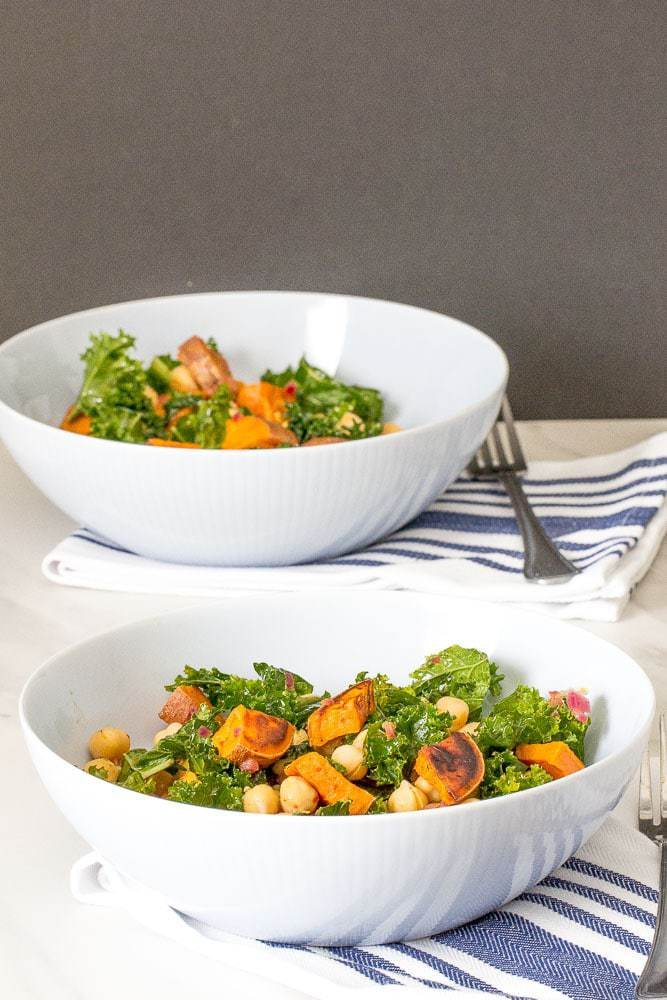 Roasted sweet potato salad with chickpeas and kale is an excellent light dinner or lunch.