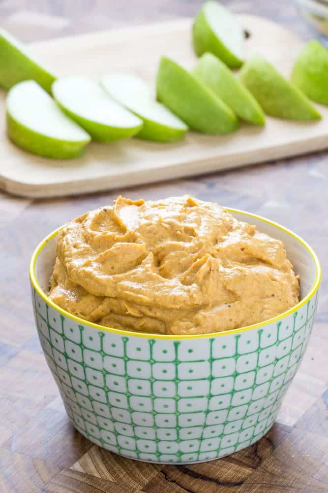 Pumpkin fruit dip is creamy and luscious. It's low in sugar too, so don't feel bad about gobbling it up!
