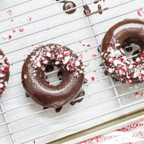 Peppermint mocha donuts are fun and festive. Everyone will enjoy them for breakfast!