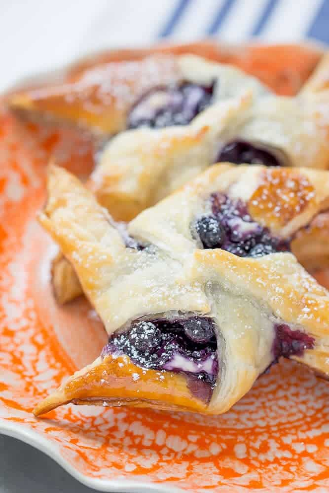 Blueberry cream cheese danishes are easily made at home thanks to puff pastry.