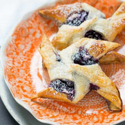 Blueberry cream cheese danishes are made easy at home with puff pastry. Skip that donut shop pastry!