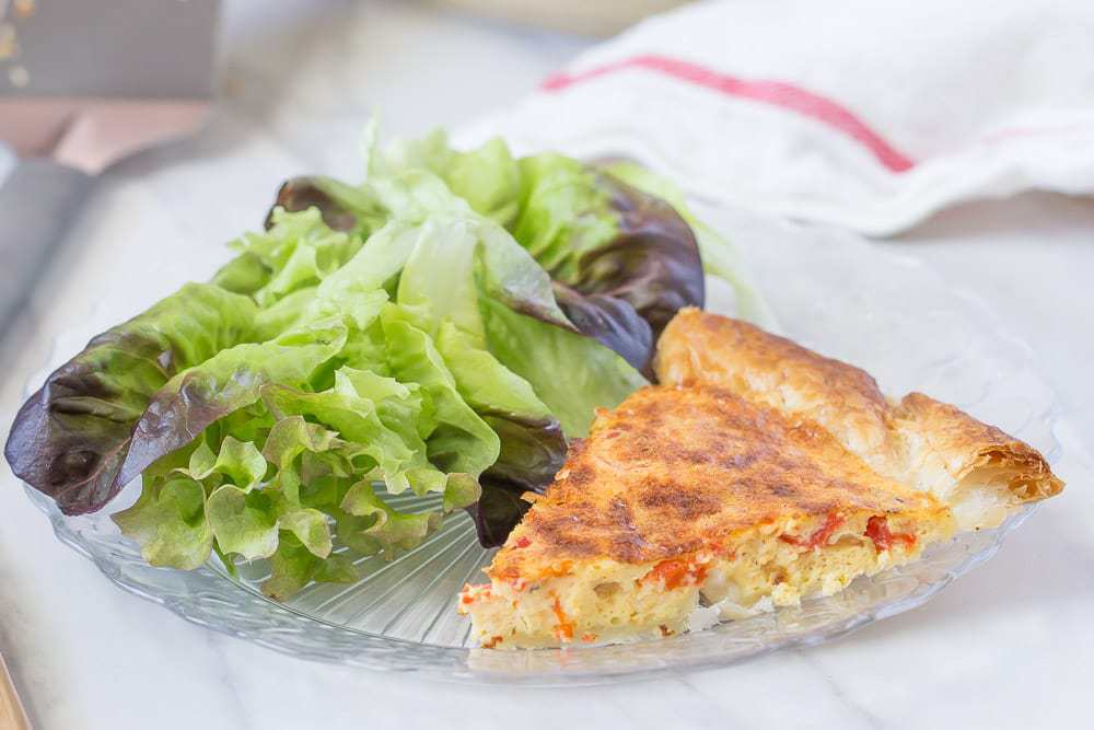 Roasted red pepper quiche is a great addition to your brunch menu.