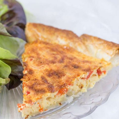 Roasted red pepper quiche is simple, but full of flavor.