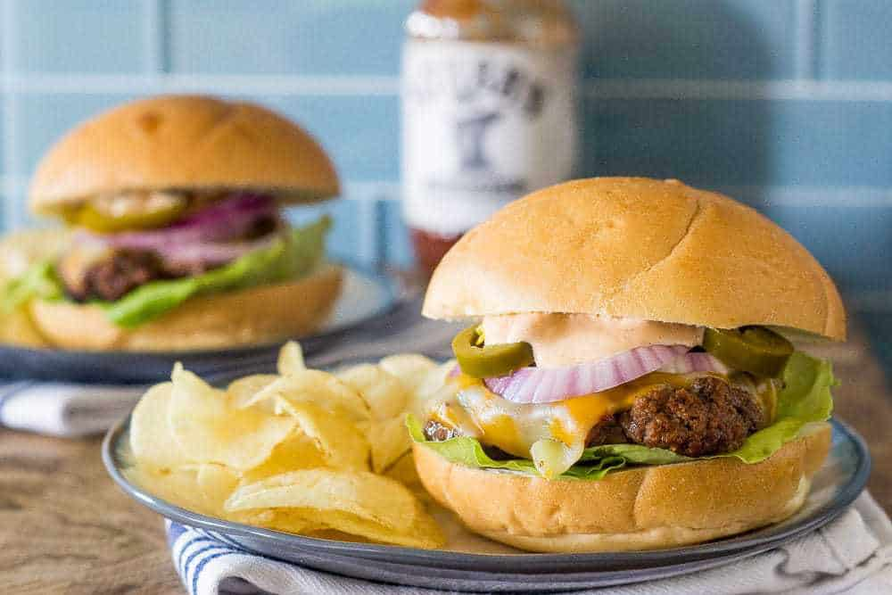 Texas Heat Burgers are spicy, two-handed burgers. Yum!