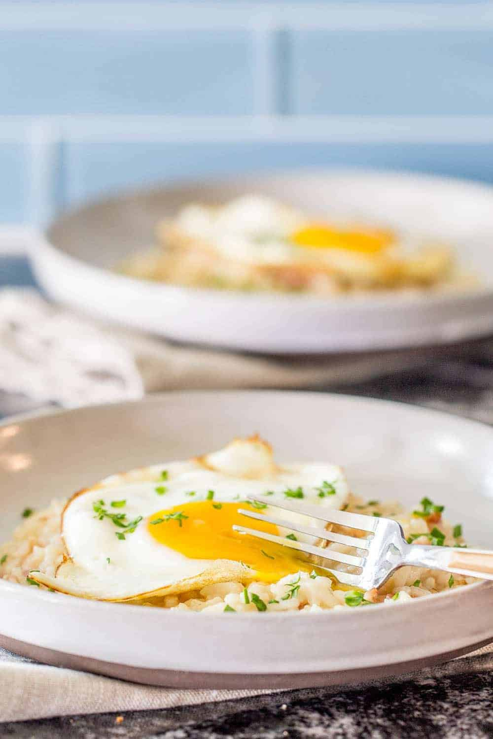 Bacon and egg risotto cooks up easier than you think, thanks to the Instant Pot.
