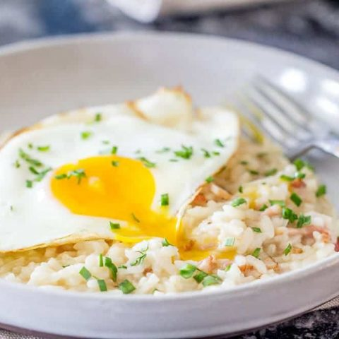 Bacon and egg risotto is creamy, comforting, and so delicious for breakfast or dinner!