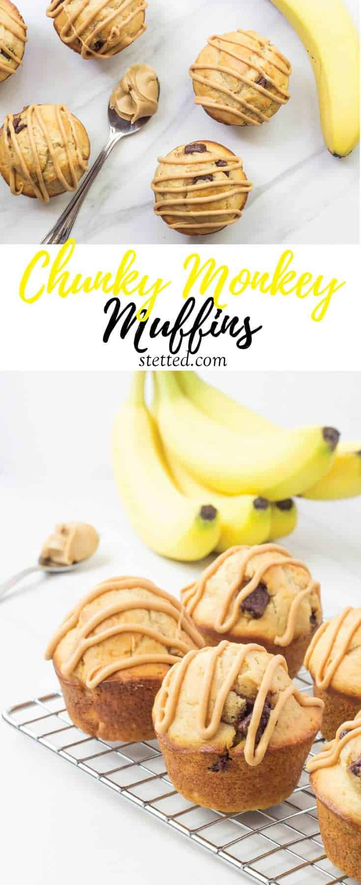 Chunky monkey muffins are the best way to use up those bananas on your counter. Filled with peanut butter, bananas, and chocolate, the whole family will love them!