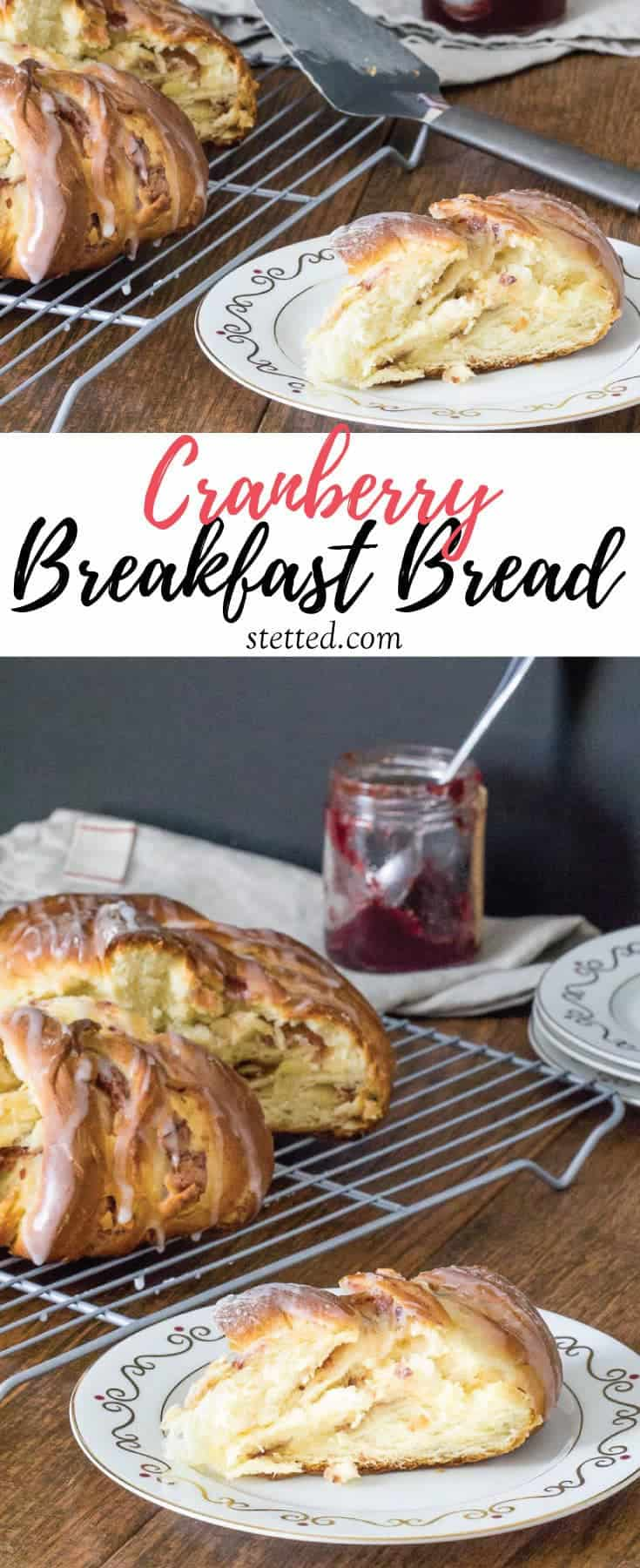 Cranberry breakfast bread uses leftover cranberry sauce for a sweet filling. This centerpiece bread is soft, buttery, and nutty.