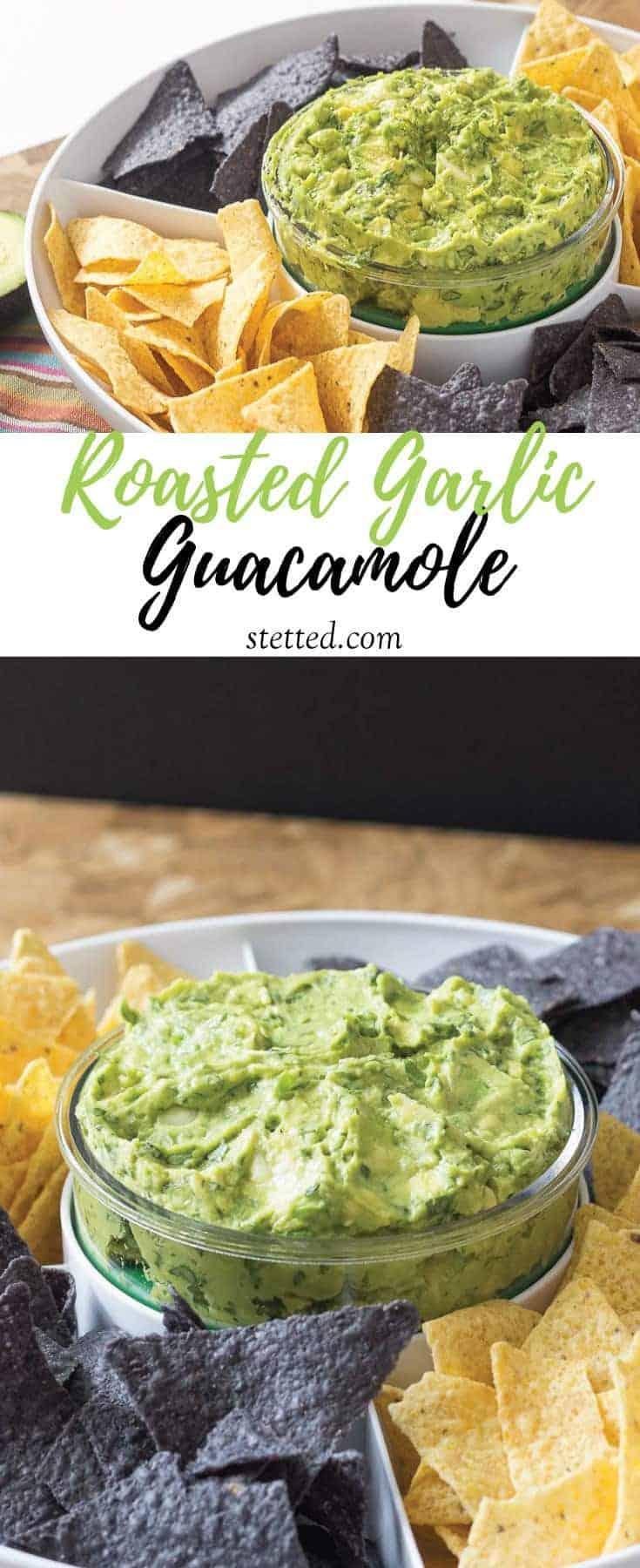 Roasted garlic guacamole is my go-to guacamole recipe! Why wait for Cinco de Mayo?