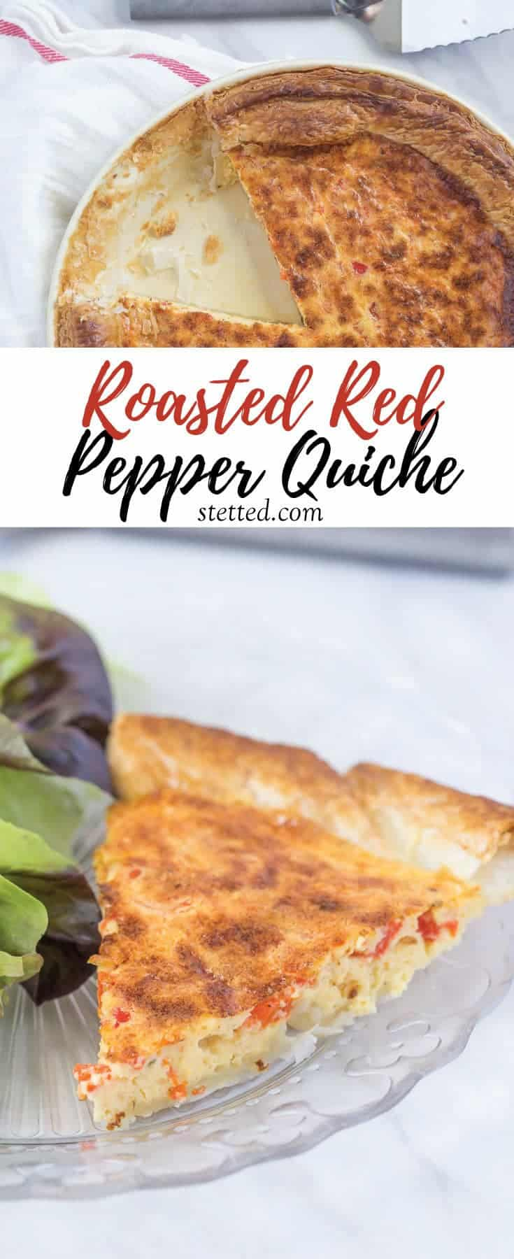 Roasted red pepper quiche is baked in a puff pastry crust for ultimate flakiness! It's a great addition to your brunch.