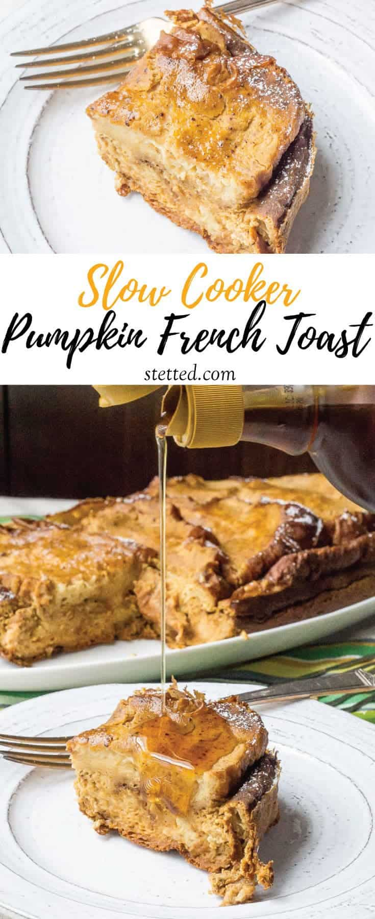 Slow cooker pumpkin French toast is the perfect hands-off fall breakfast! Get it ready the night before and wake up to deliciousness.